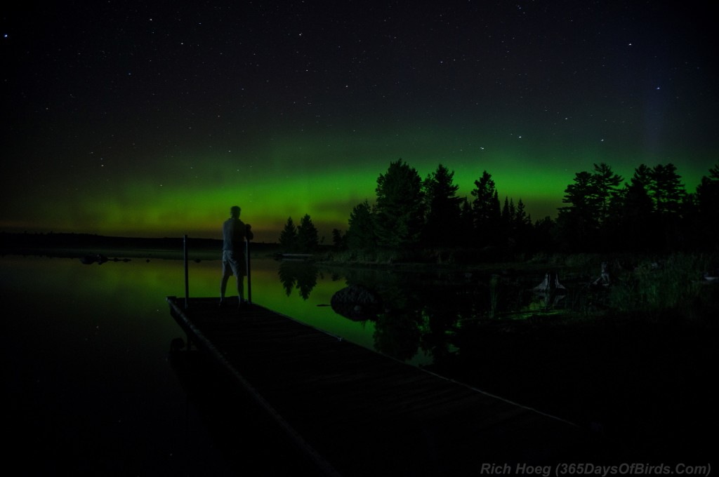 Northern-Lights-Boulder-Lake-07-Aug-2015-Dock-Selfie